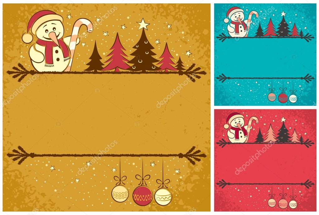 Christmas card with snowman, Christmas tree, baubles and copy space for your text.It is in 3 color version. No transparency and gradients used. — Stock Vector #14341475