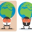 Businessman Holding Earth — Stock Vector #18971757