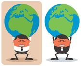 Businessman Holding Earth — Stock Vector