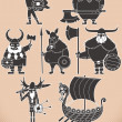 Stock Vector: Viking Silhouettes