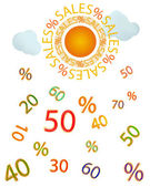 Sales/Sun with sale text for sun rays,some light clouds that raining numbers. — Stock Vector
