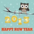 Owl Happy new year 2013 — Stock Vector