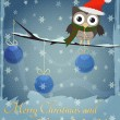 Owl Marry Christmas and Happy New Year — Vector de stock #12533557