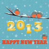 Feliz ano novo de passarinhos 2013 — Vetorial Stock