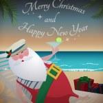 Santa relaxing on tropic beach — Stock Vector #12746202