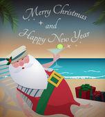Santa tropik sahilde rahatlatıcı — Stok Vektör