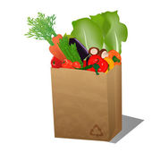 Recycled sopping paper bag with veggies — Stock Vector