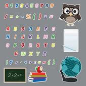 カラフルなアルファベットのステッカー — ストックベクタ