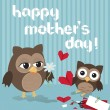 Mother's day owl — Stock Vector