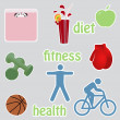 Healthy living stikers — Stock Vector