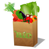 Shopping paper bag with veggies — Stock Photo