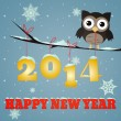 Owl Happy new year 2014 — Stock Photo #25078757