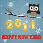 新年あけましておめでとうございますのフクロウ 2014 — ストック写真
