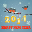 Stock Photo: Birdies Happy new year 2014