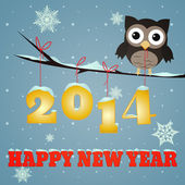 Owl Happy new year 2014 — Stock Photo
