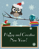 Owl Happy and Creative New Year — Vecteur