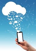 Hand holding smartphone with cloud and icons — Stock Photo