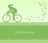 Sfondo di sagoma con ciclismo femminile — Vettoriale Stock