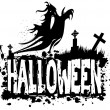 Halloween grungy silhouette background — Stock Photo