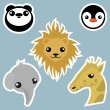 Stock Vector: Adorable wild animals stickers