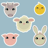 Adorable domestic animals stickers — Vector de stock