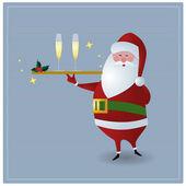 Santa serving drinks — Stock Vector