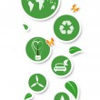 Hand holding green ecological icons — Photo