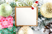 Christmas card with ornaments and copy-space — Stock Photo