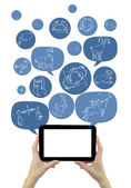 Online astrology site template on tablet with icons isolated — Stock Photo