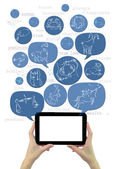 Online astrology site template on tablet with icons isolated — Stockfoto