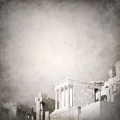 Grunge background template with ancient Greek ruins fading out — Stock Photo