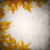 Grunge background template with yellow orange autumn leaves — Stock Photo