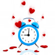 Alarm clock ringing with jumping hearts all around isolated — Foto de Stock