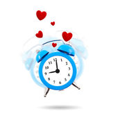 Alarm clock in the air ringing with hearts isolated — Stock Photo