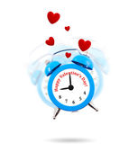 Alarm clock ringing with jumping hearts all around isolated — Stock Photo