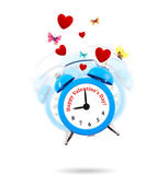 Alarm clock ringing with hearts and butterflies all around — Stock Photo