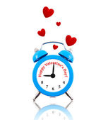 Alarm clock with hearts and text instead of numbers — Stock Photo