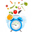 Diet concept with clock, scale dial and vegetables. — Стоковое фото