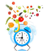 Diet concept with clock, scale dial, fruits and vegetables. — Stock Photo