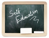 Blackboard with Self Education written on it, isolated  — Photo