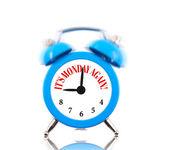 It's Monday again! Alarm clock ringing isolated on white — Stock Photo