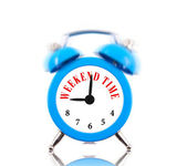Weekend time! Alarm clock ringing isolated on white — Stock Photo