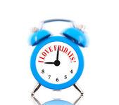 I love Fridays! Alarm clock ringing isolated on white — Stock Photo