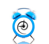 Classic alarm clock ringing with swirl inside isolated — Stock Photo