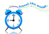 Travel the world! Clock with landmarks on dial isolated — 图库照片