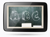 Blackboard inside computer tablet with ABC sketchy chalk text — Стоковое фото