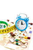 Pile of pills with banknotes,clock and measure tape — Stock Photo