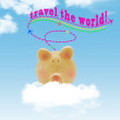 Piggy bank flying on cloud with blue sky background — Stock Photo #47723283