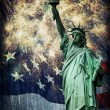 Stock Photo: Statue of Liberty & Fireworks