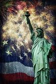 Statue of Liberty & Fireworks — Stock Photo